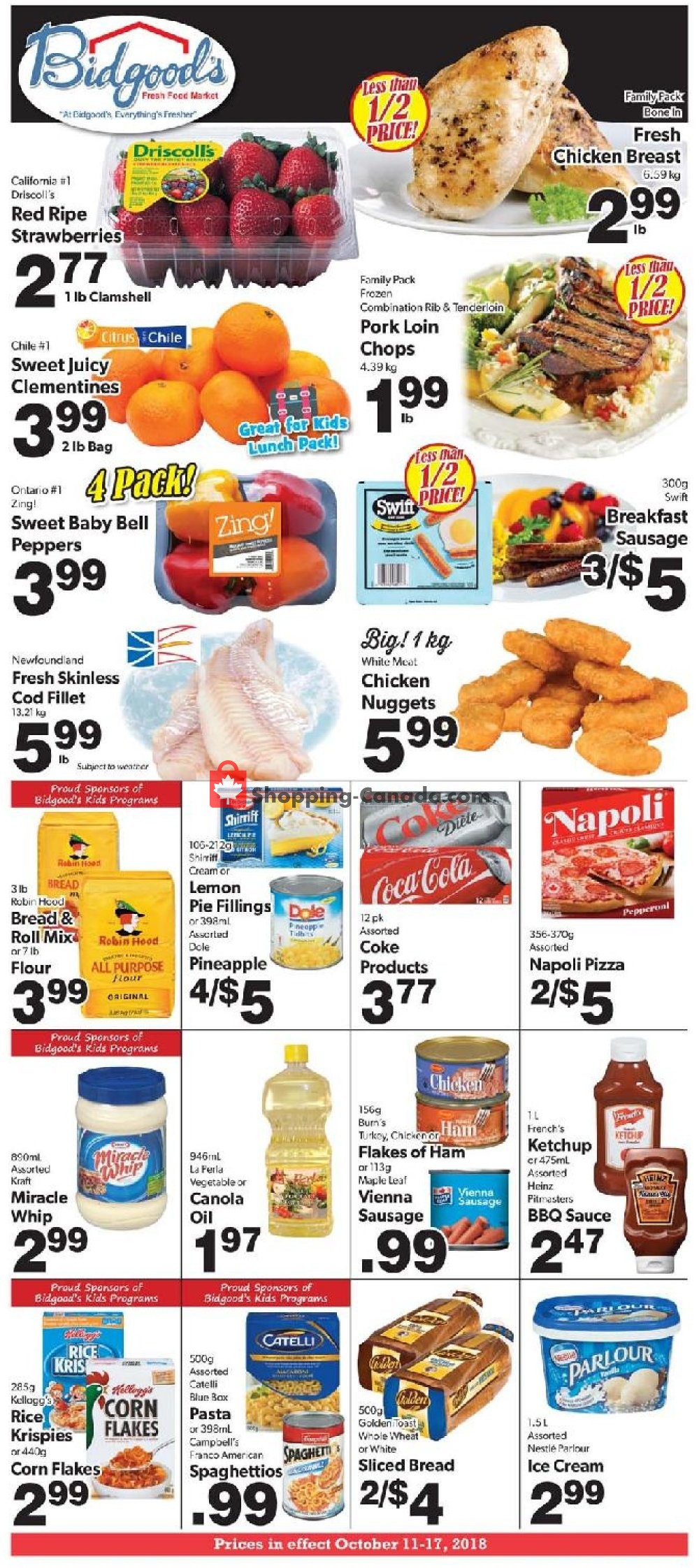 Flyer Bidgood's Supermarket Canada - from Thursday October 11, 2018 to Wednesday October 17, 2018