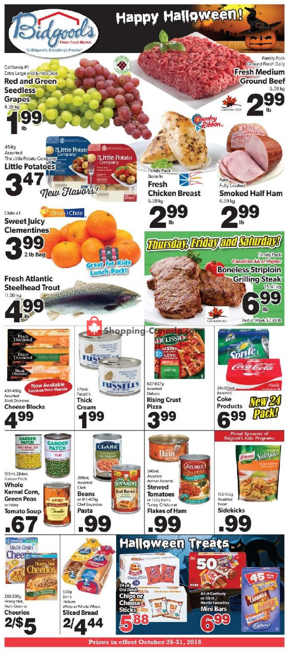Flyer Bidgood's Supermarket Canada - from Thursday October 25, 2018 to Wednesday October 31, 2018