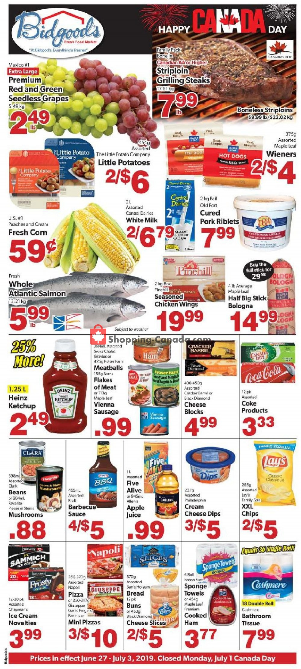 Flyer Bidgood's Supermarket Canada - from Thursday June 27, 2019 to Wednesday July 3, 2019