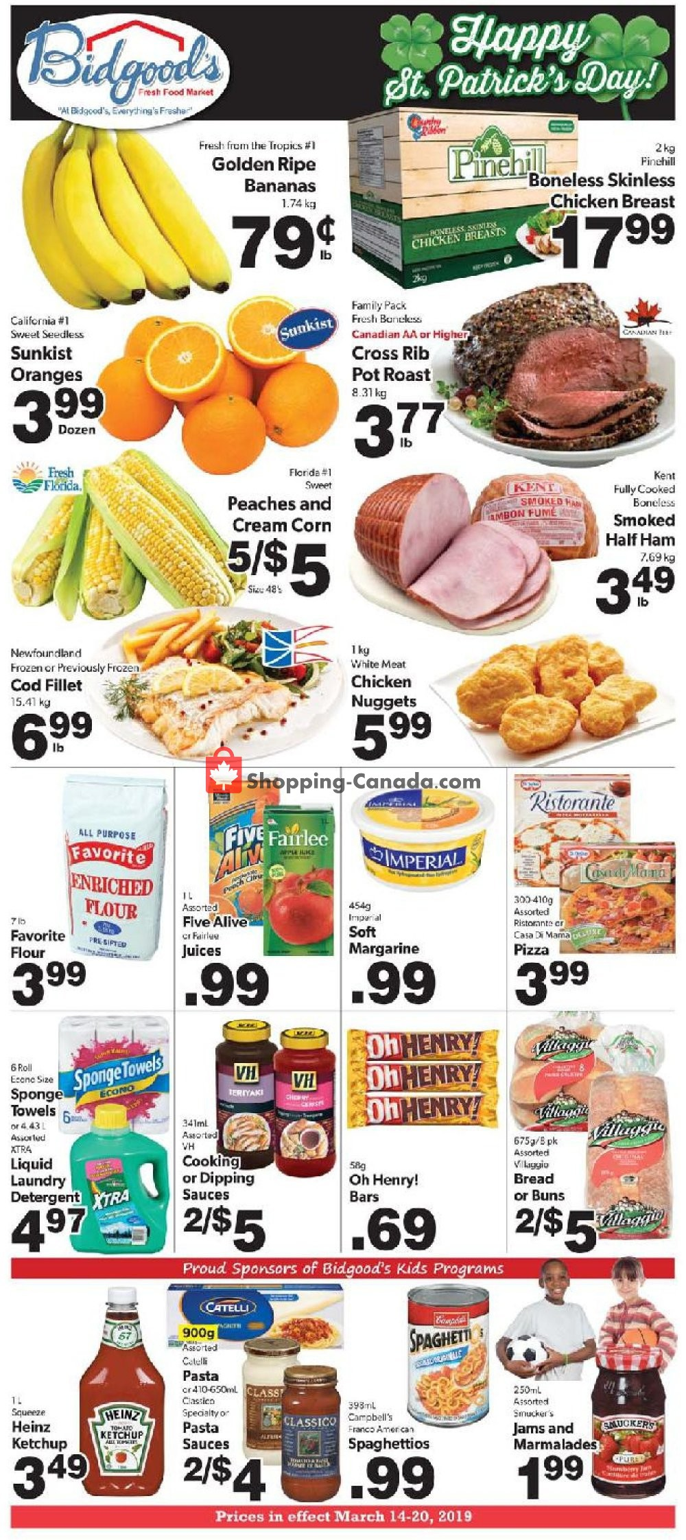 Flyer Bidgood's Supermarket Canada - from Thursday March 14, 2019 to Wednesday March 20, 2019