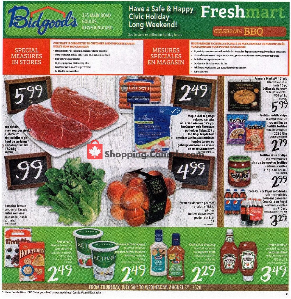 Flyer Bidgood's Supermarket Canada - from Thursday July 30, 2020 to Wednesday August 5, 2020