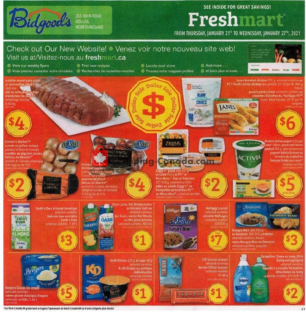 Flyer Bidgood's Supermarket Canada - from Thursday January 21, 2021 to Wednesday January 27, 2021