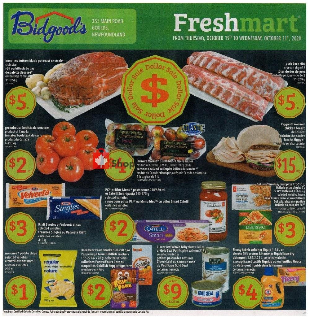 Flyer Bidgood's Supermarket Canada - from Thursday October 15, 2020 to Wednesday October 21, 2020