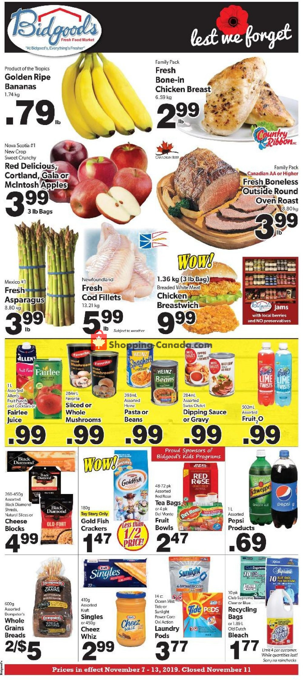 Flyer Bidgood's Supermarket Canada - from Thursday November 7, 2019 to Wednesday November 13, 2019