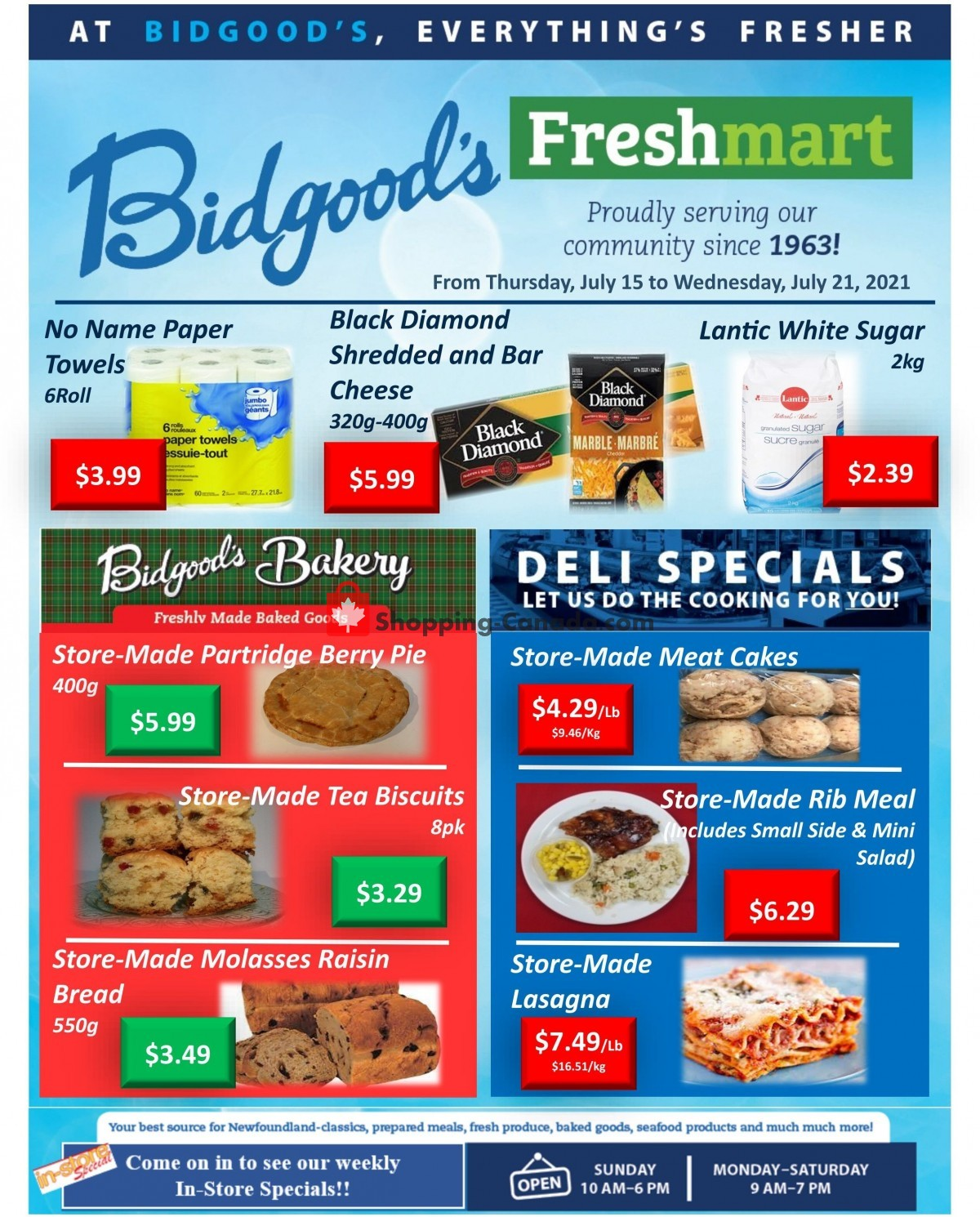 Flyer Bidgood's Supermarket Canada - from Thursday July 15, 2021 to Wednesday July 21, 2021