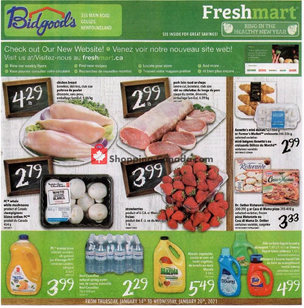 Flyer Bidgood's Supermarket Canada - from Thursday January 14, 2021 to Wednesday January 20, 2021