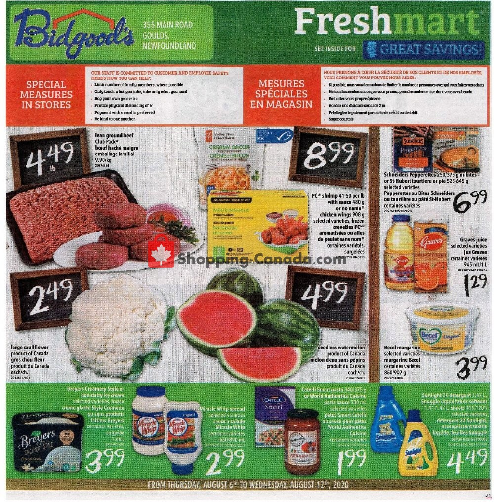 Flyer Bidgood's Supermarket Canada - from Thursday August 6, 2020 to Wednesday August 12, 2020