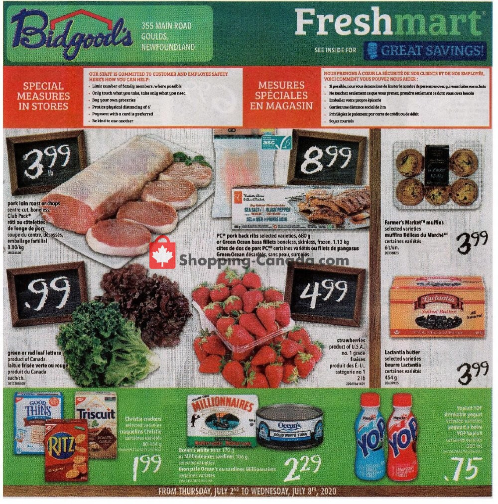 Flyer Bidgood's Supermarket Canada - from Thursday July 2, 2020 to Wednesday July 8, 2020