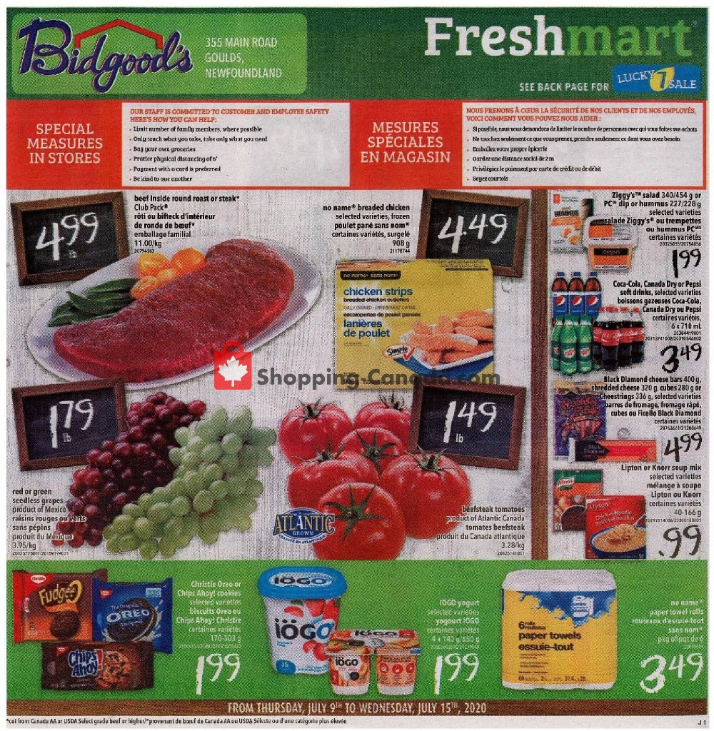 Flyer Bidgood's Supermarket Canada - from Thursday July 9, 2020 to Wednesday July 15, 2020