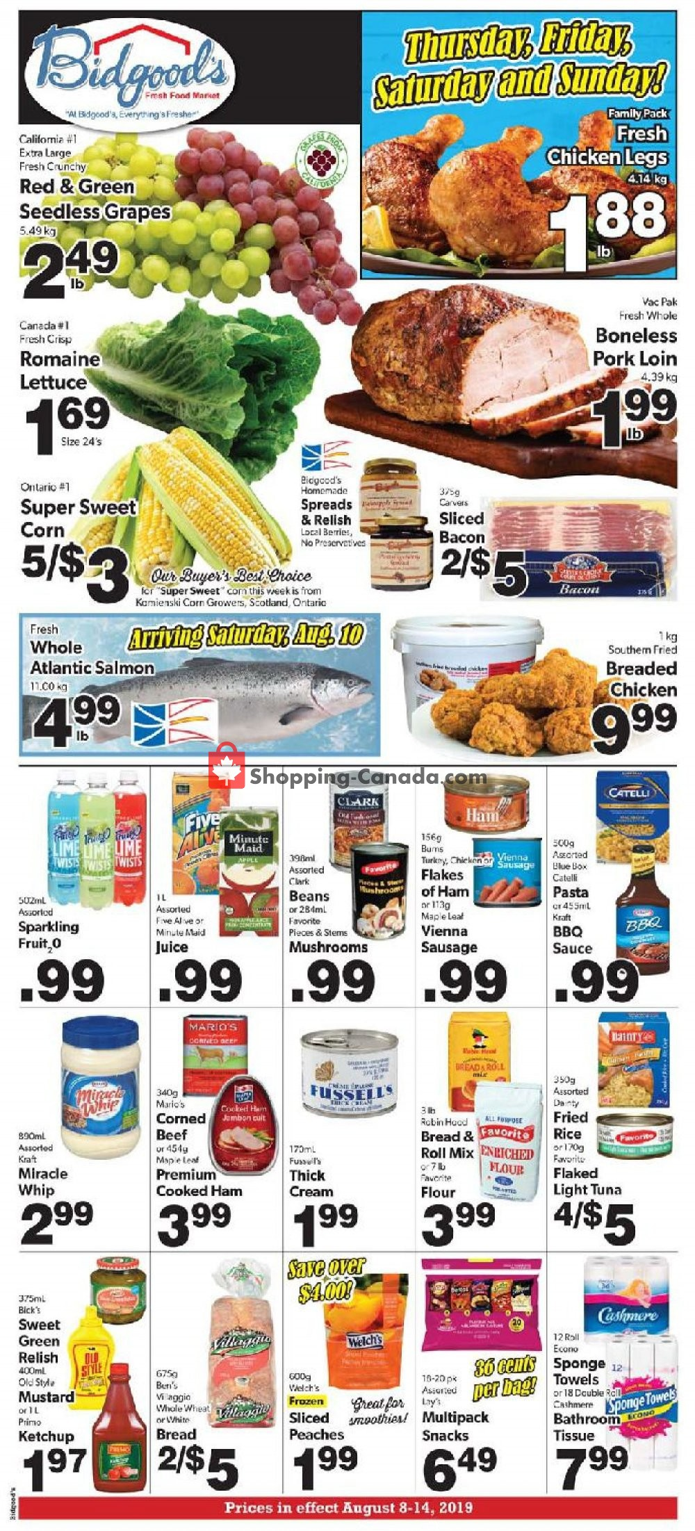 Flyer Bidgood's Supermarket Canada - from Thursday August 8, 2019 to Wednesday August 14, 2019