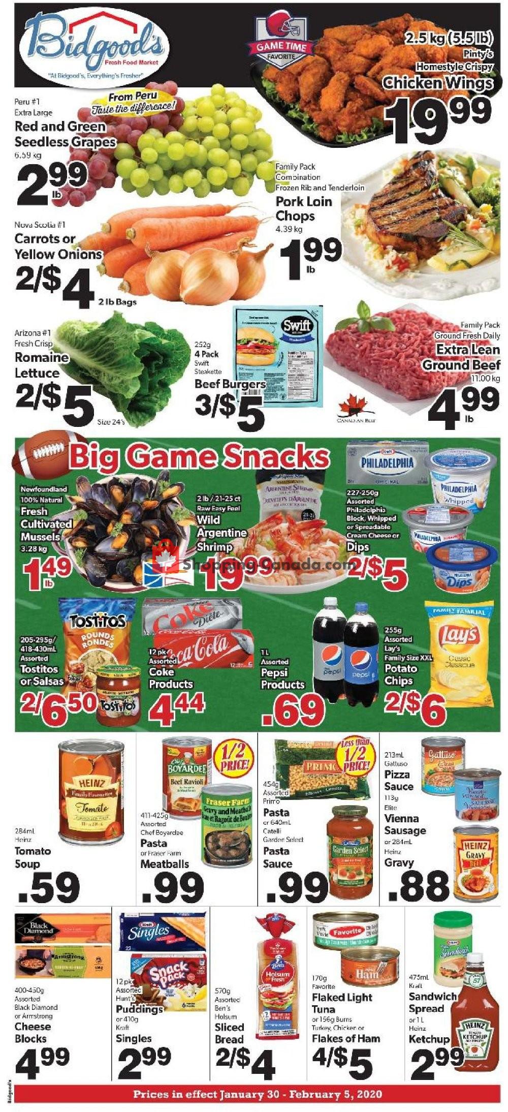 Flyer Bidgood's Supermarket Canada - from Thursday January 30, 2020 to Wednesday February 5, 2020