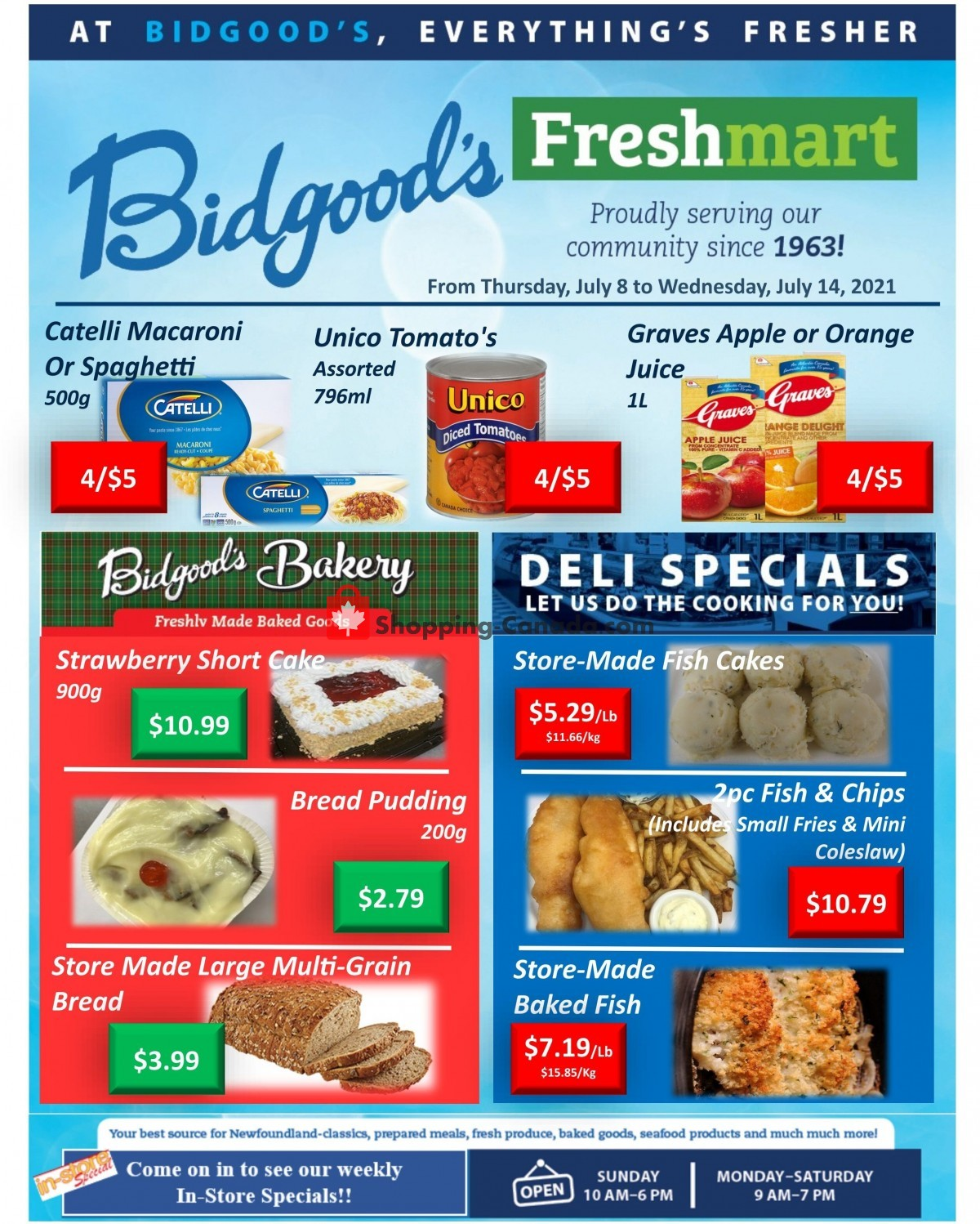 Flyer Bidgood's Supermarket Canada - from Thursday July 8, 2021 to Wednesday July 14, 2021