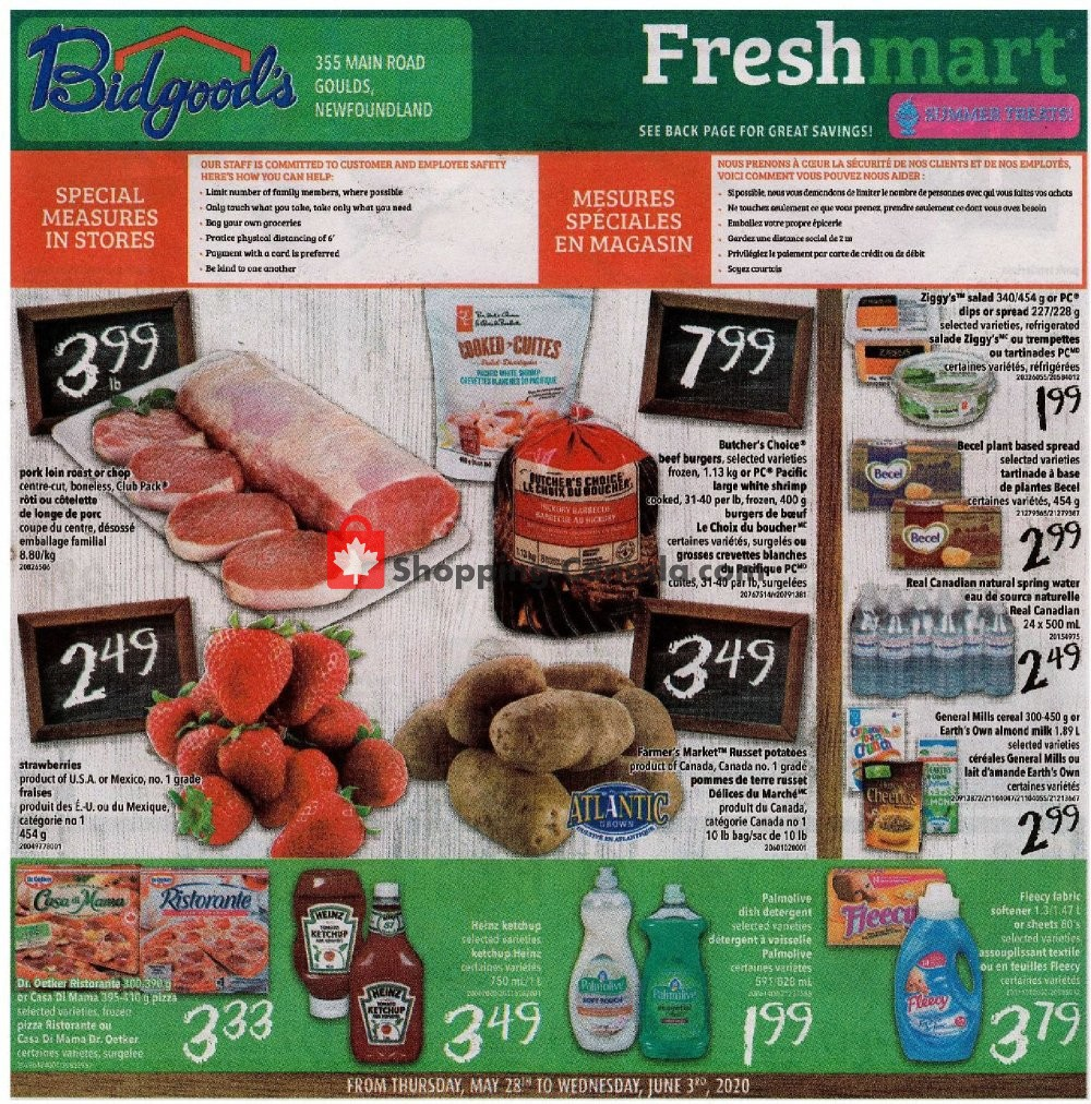 Flyer Bidgood's Supermarket Canada - from Thursday May 28, 2020 to Wednesday June 3, 2020