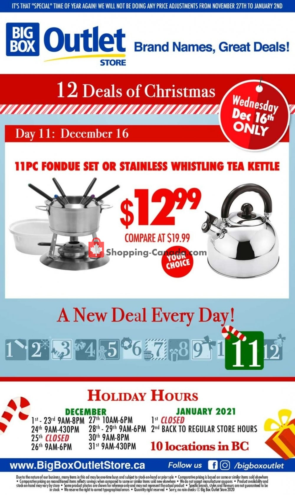 Flyer Big Box Outlet Store Canada - from Wednesday December 16, 2020 to Wednesday December 16, 2020
