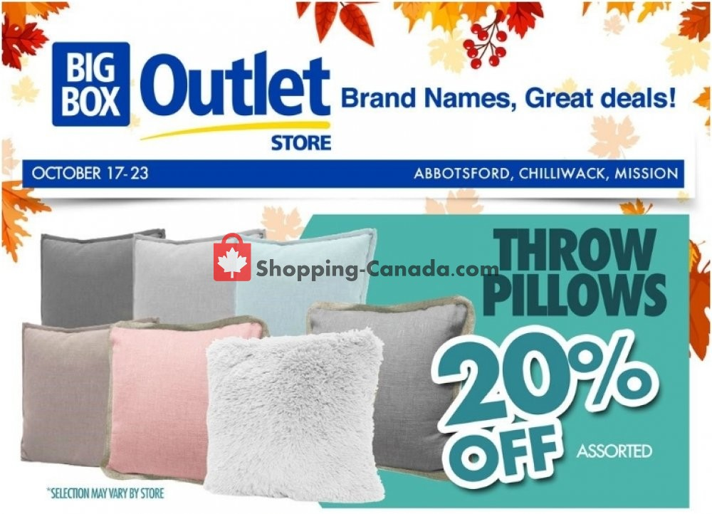 Flyer Big Box Outlet Store Canada - from Wednesday October 17, 2018 to Tuesday October 23, 2018