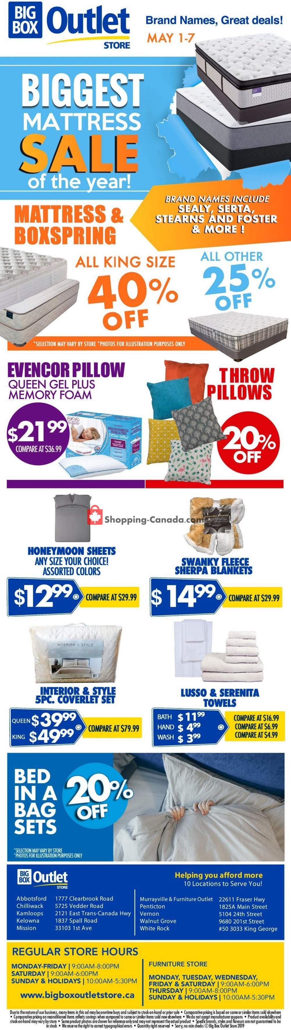Flyer Big Box Outlet Store Canada - from Wednesday May 1, 2019 to Tuesday May 7, 2019