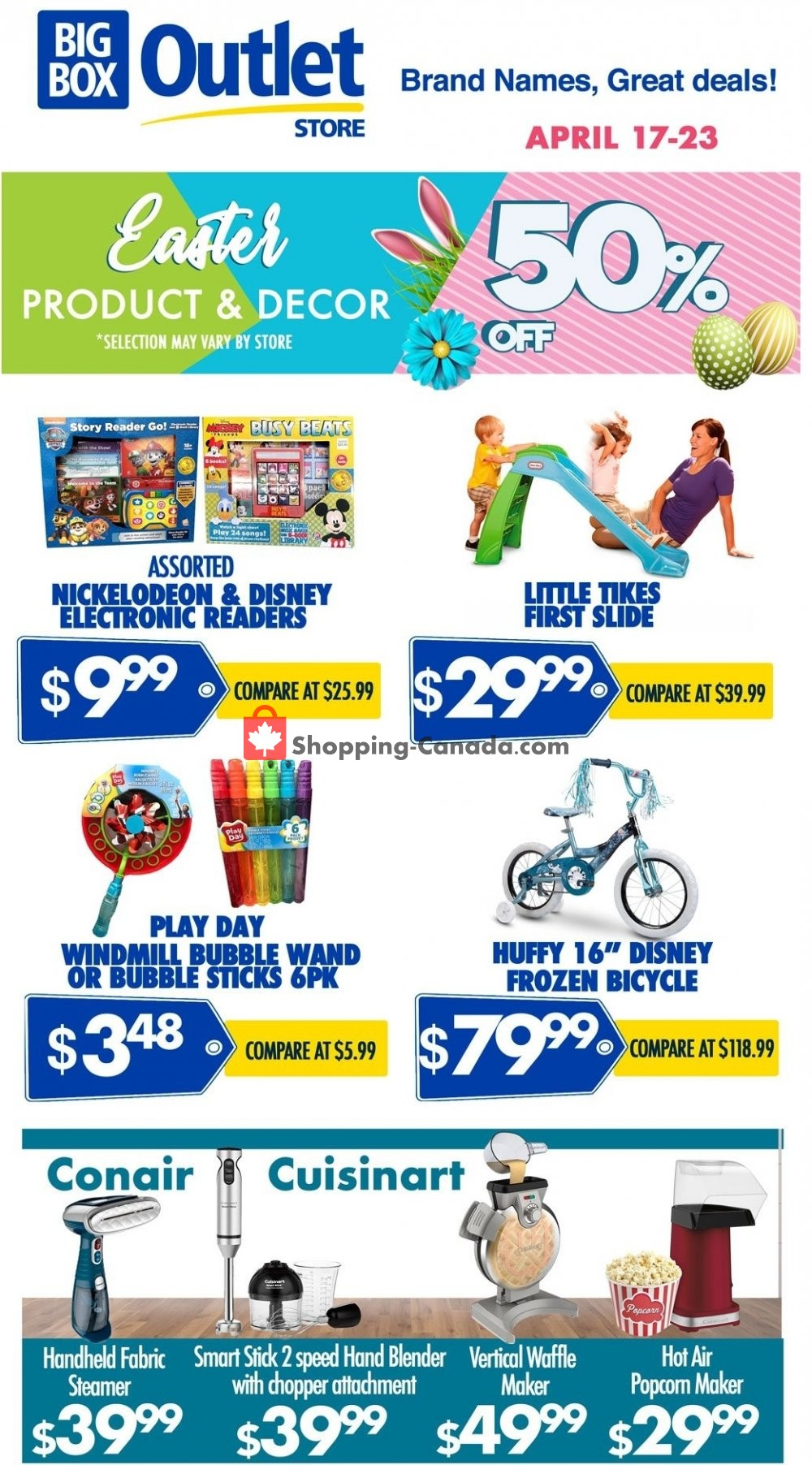 Flyer Big Box Outlet Store Canada - from Wednesday April 17, 2019 to Tuesday April 23, 2019