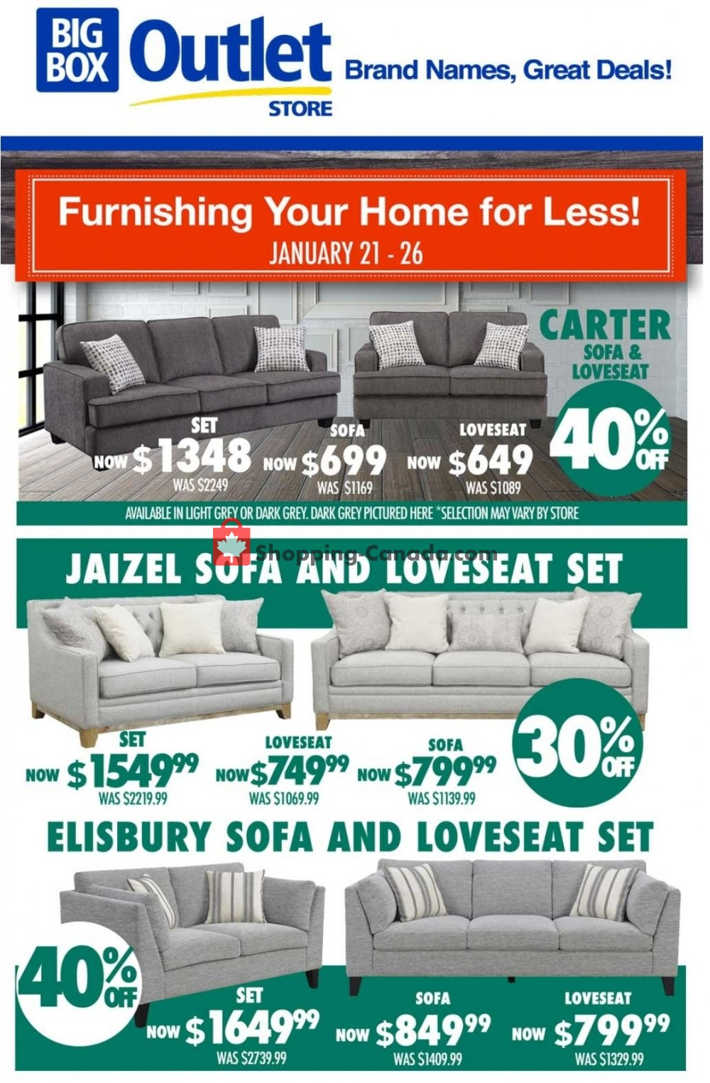 Flyer Big Box Outlet Store Canada - from Thursday January 21, 2021 to Tuesday January 26, 2021