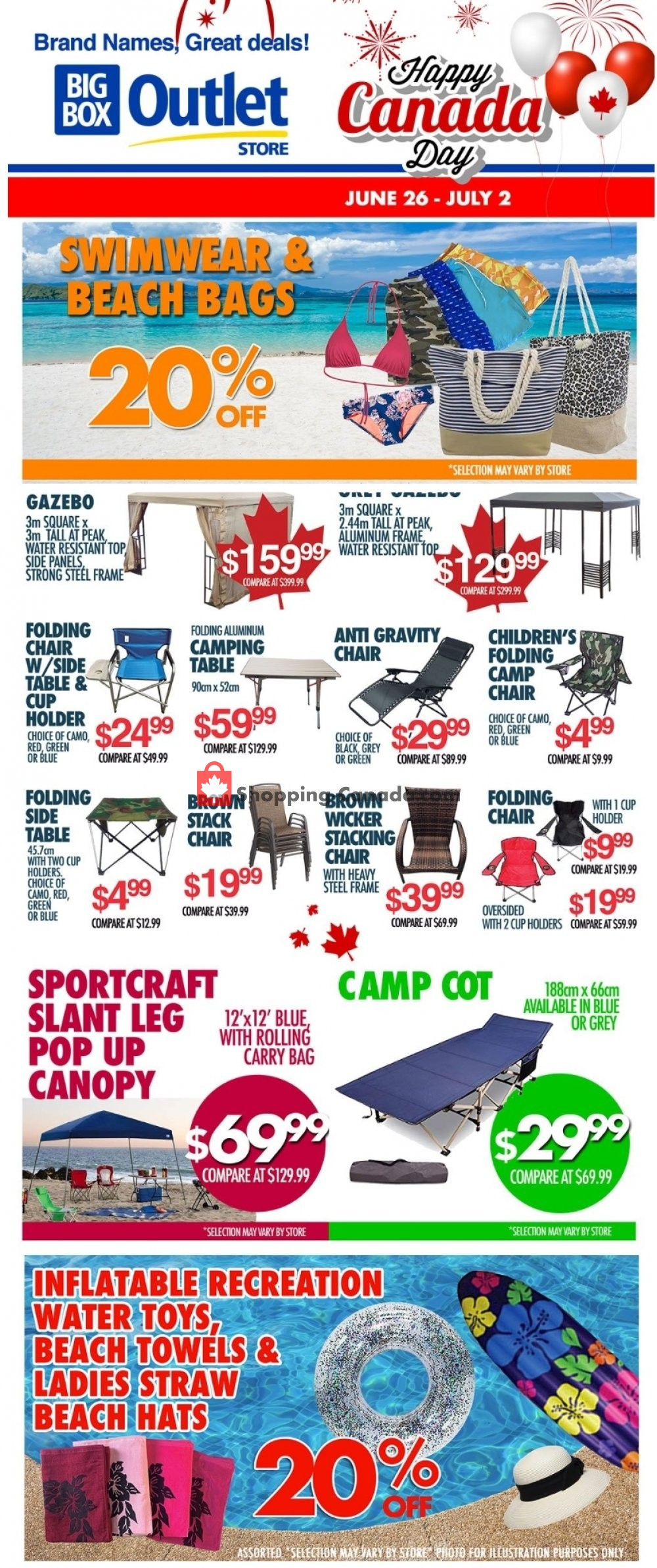 Flyer Big Box Outlet Store Canada - from Wednesday June 26, 2019 to Tuesday July 2, 2019
