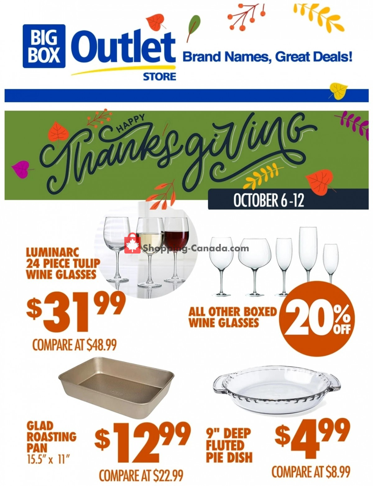 Flyer Big Box Outlet Store Canada - from Wednesday October 6, 2021 to Tuesday October 12, 2021