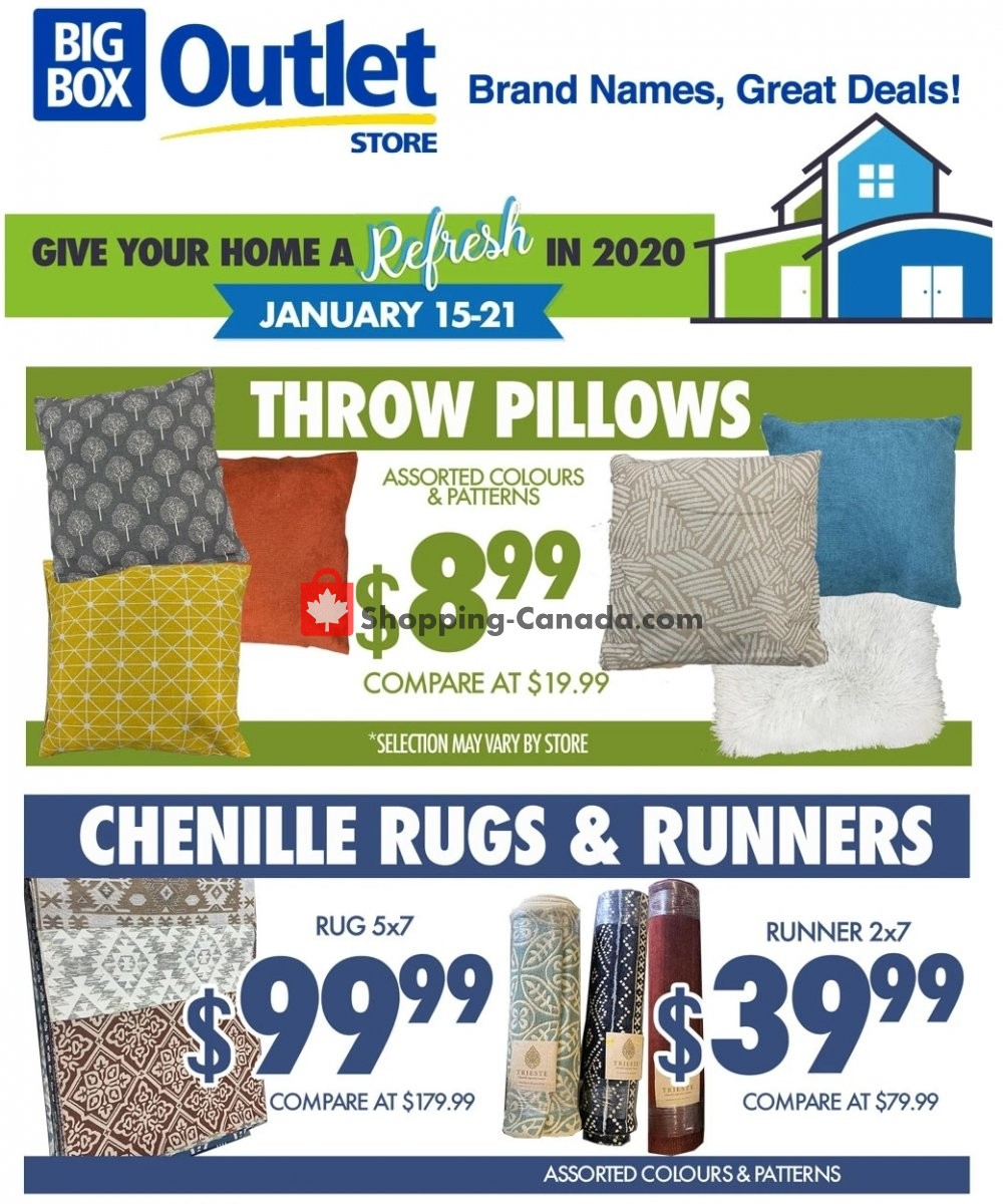 Flyer Big Box Outlet Store Canada - from Wednesday January 15, 2020 to Tuesday January 21, 2020