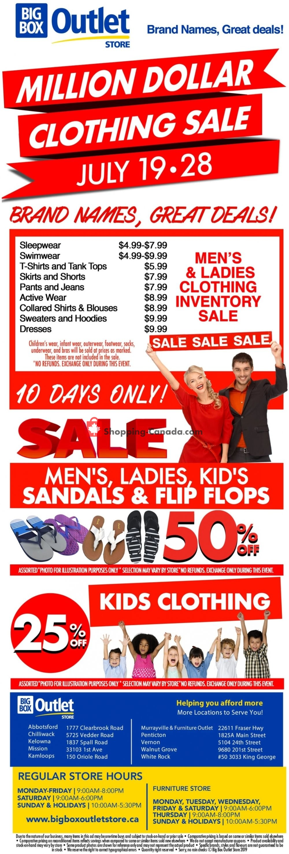 Flyer Big Box Outlet Store Canada - from Friday July 19, 2019 to Sunday July 28, 2019