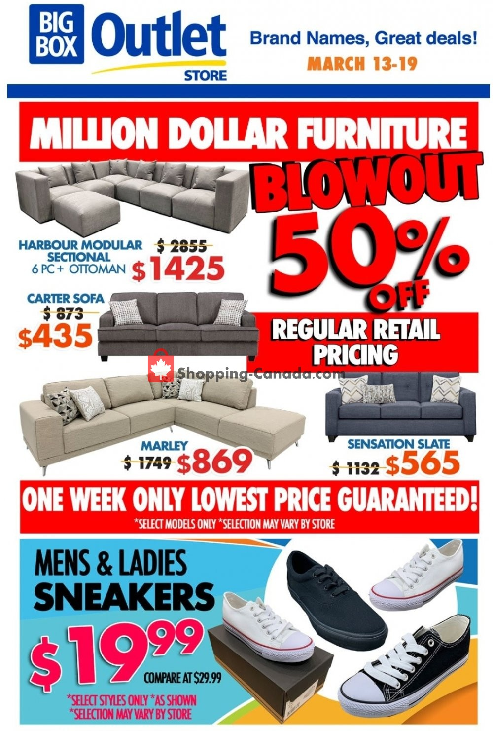 Flyer Big Box Outlet Store Canada - from Wednesday March 13, 2019 to Tuesday March 19, 2019