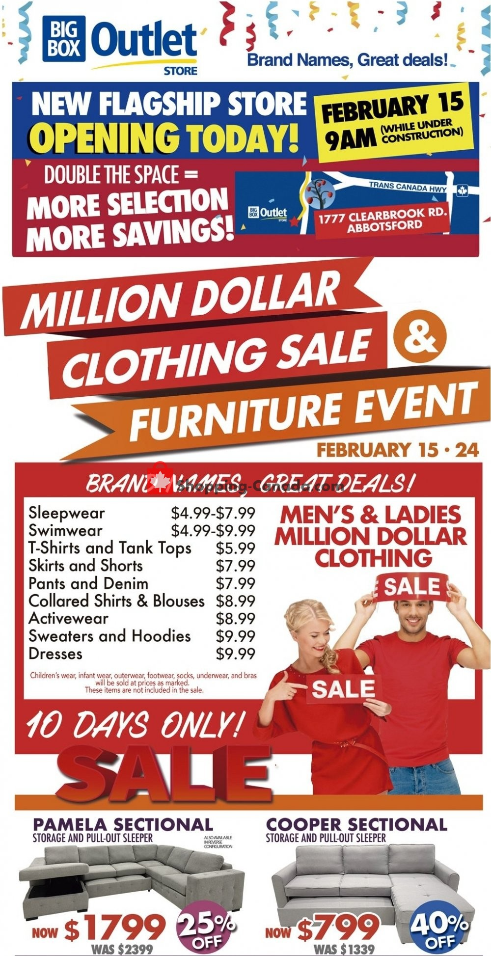 Flyer Big Box Outlet Store Canada - from Friday February 15, 2019 to Sunday February 24, 2019