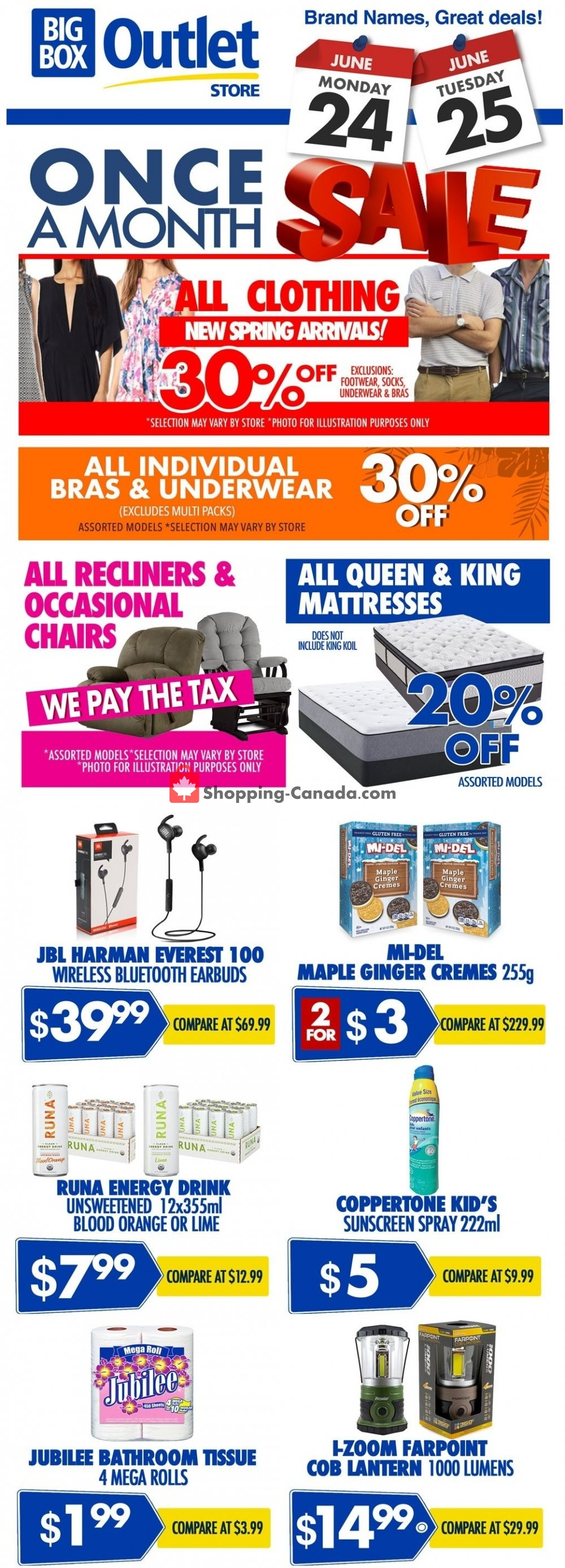 Flyer Big Box Outlet Store Canada - from Monday June 24, 2019 to Tuesday June 25, 2019