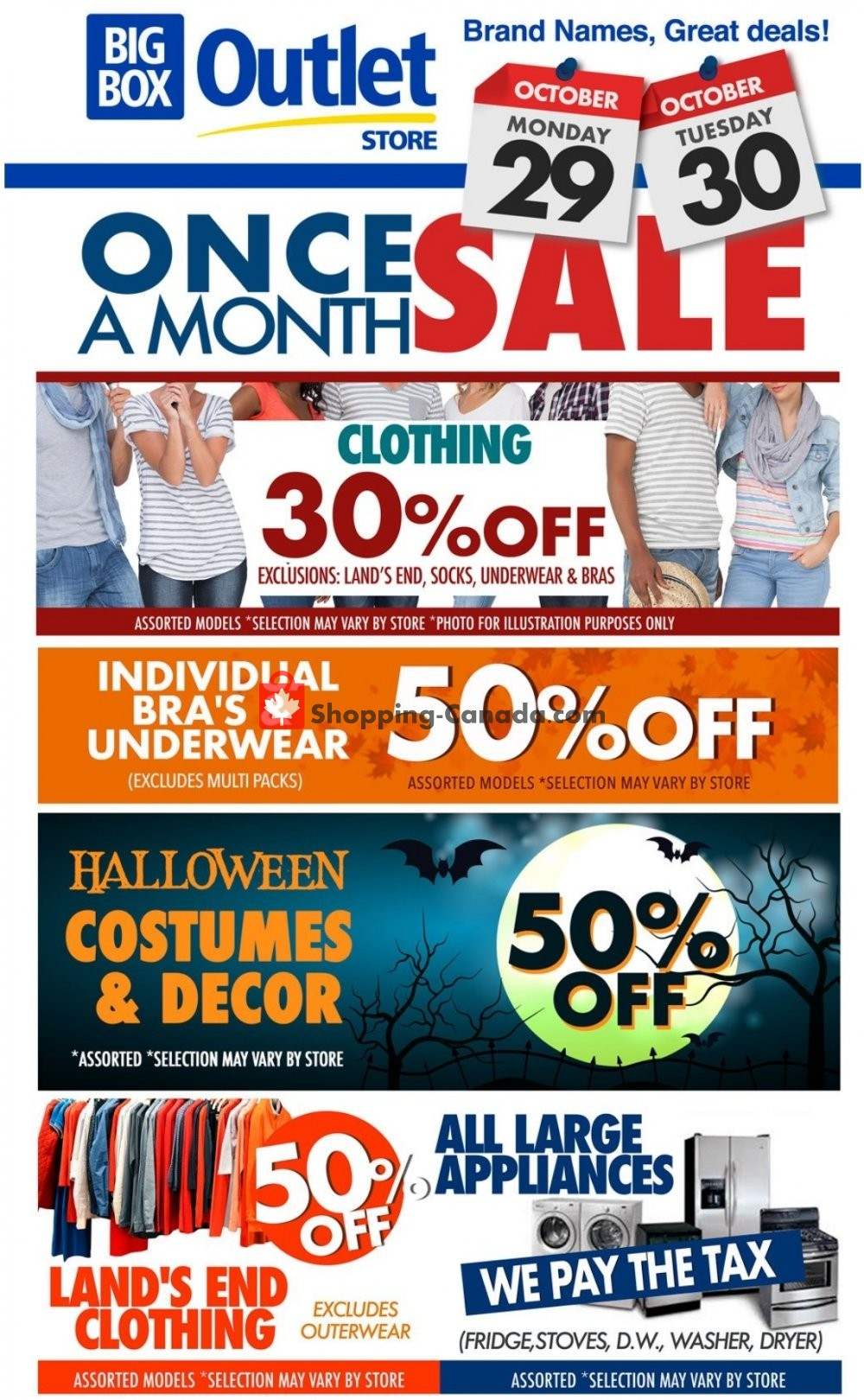 Flyer Big Box Outlet Store Canada - from Monday October 29, 2018 to Tuesday October 30, 2018