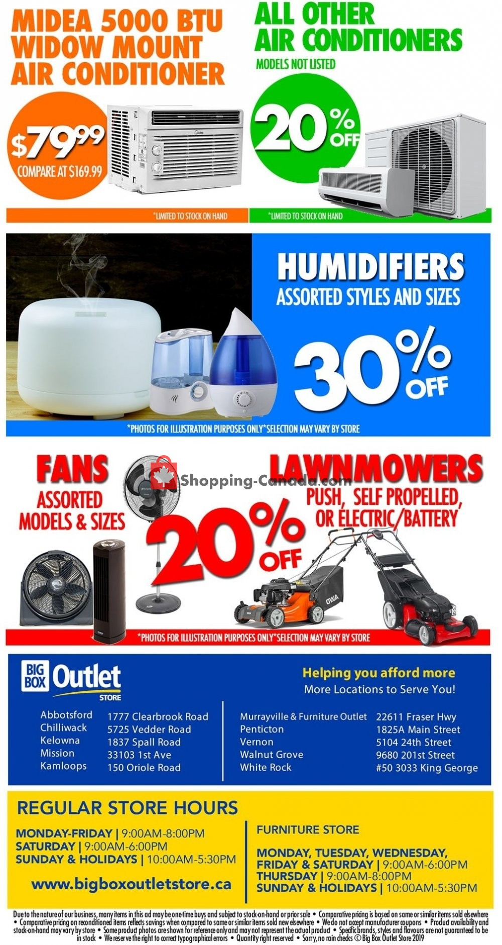 Flyer Big Box Outlet Store Canada - from Wednesday July 10, 2019 to Tuesday July 16, 2019