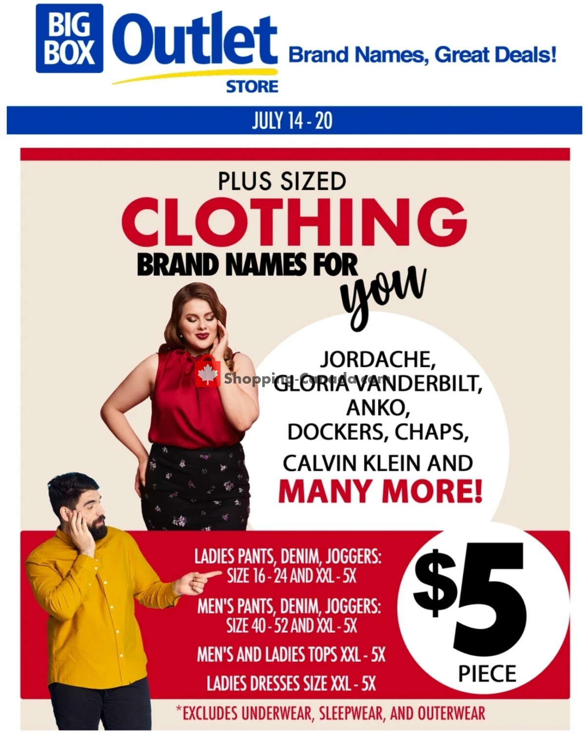 Flyer Big Box Outlet Store Canada - from Wednesday July 14, 2021 to Tuesday July 20, 2021