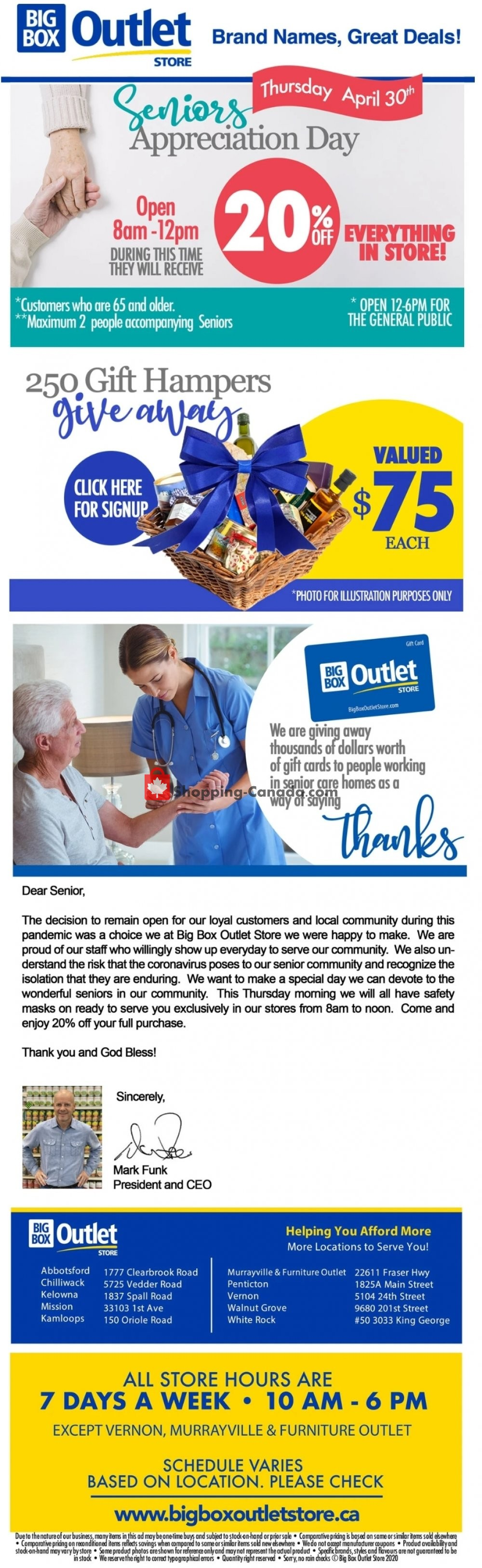 Flyer Big Box Outlet Store Canada - from Tuesday April 28, 2020 to Monday May 4, 2020