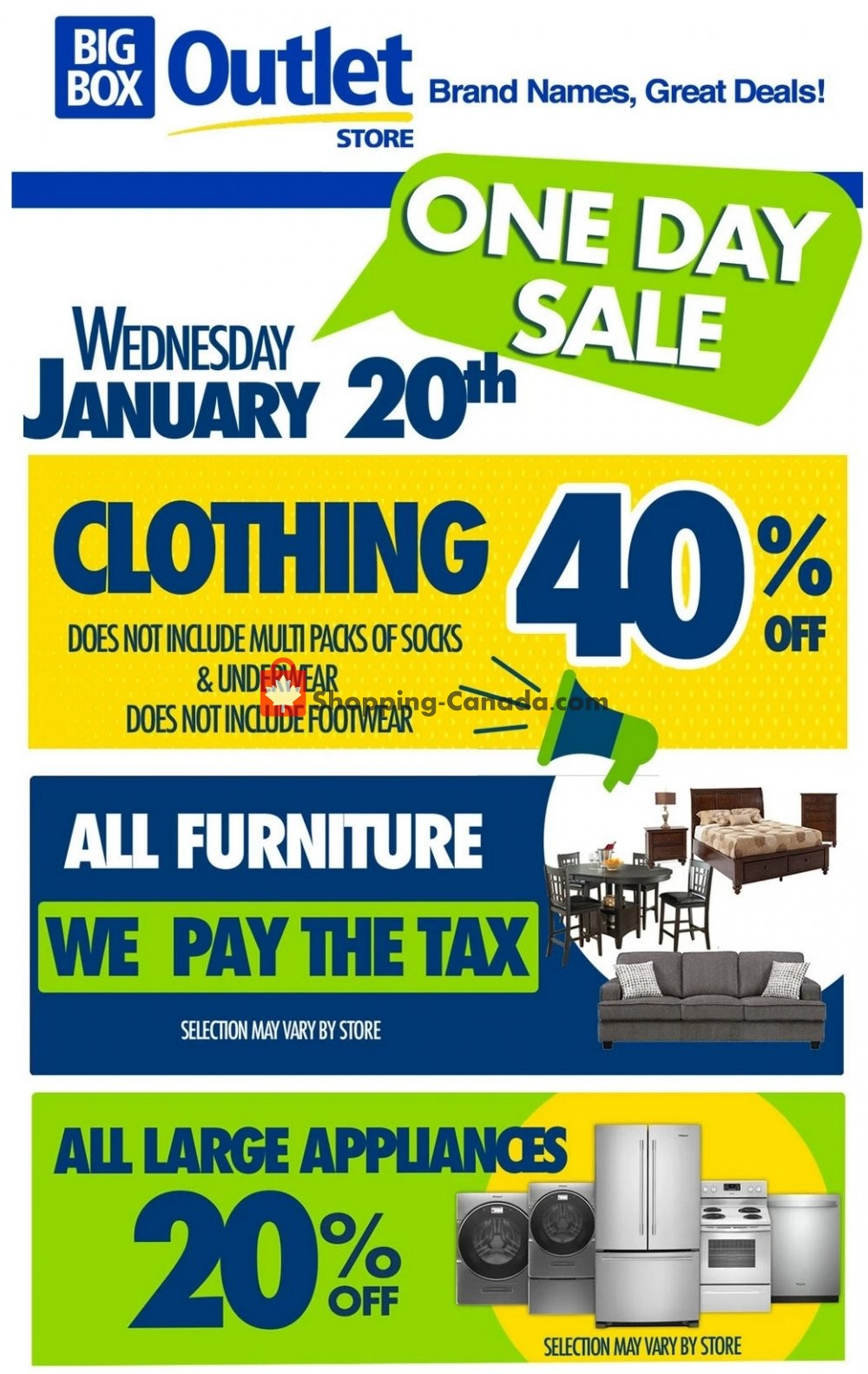Flyer Big Box Outlet Store Canada - from Wednesday January 20, 2021 to Wednesday January 20, 2021