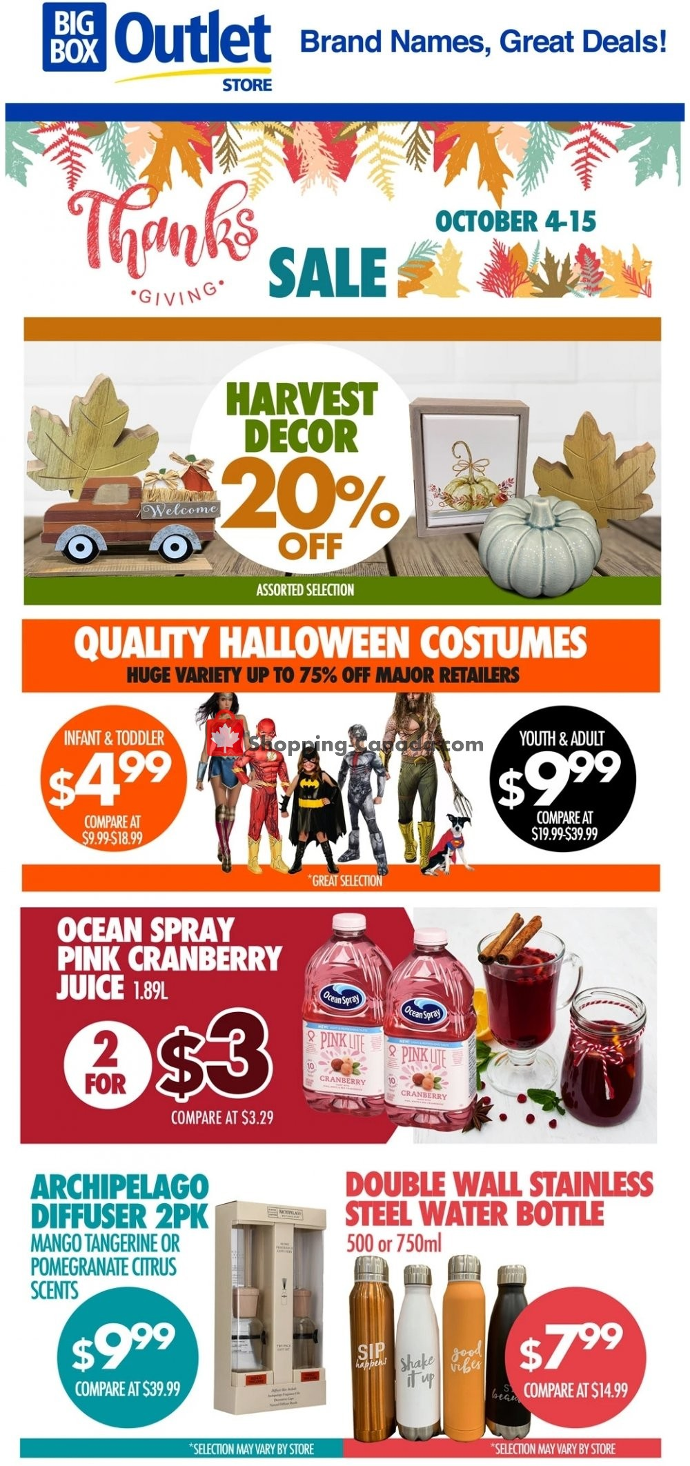 Flyer Big Box Outlet Store Canada - from Friday October 4, 2019 to Tuesday October 15, 2019