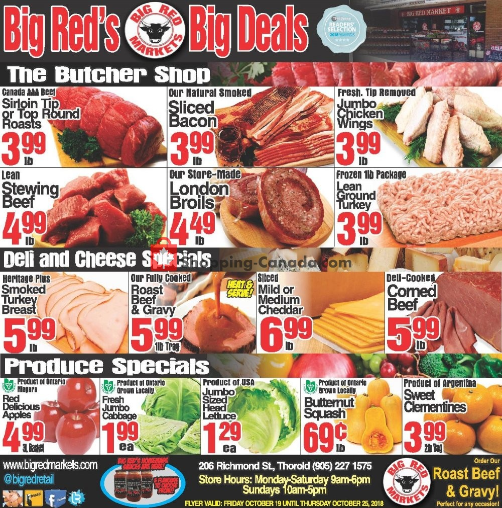 Flyer Big Red Markets Canada - from Friday October 19, 2018 to Thursday October 25, 2018