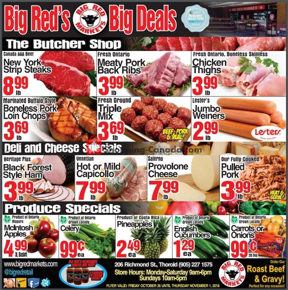 Flyer Big Red Markets Canada - from Friday October 26, 2018 to Thursday November 1, 2018