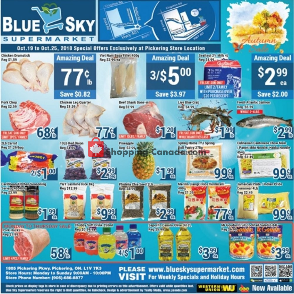 Flyer Blue Sky Supermarket Canada - from Friday October 19, 2018 to Thursday October 25, 2018