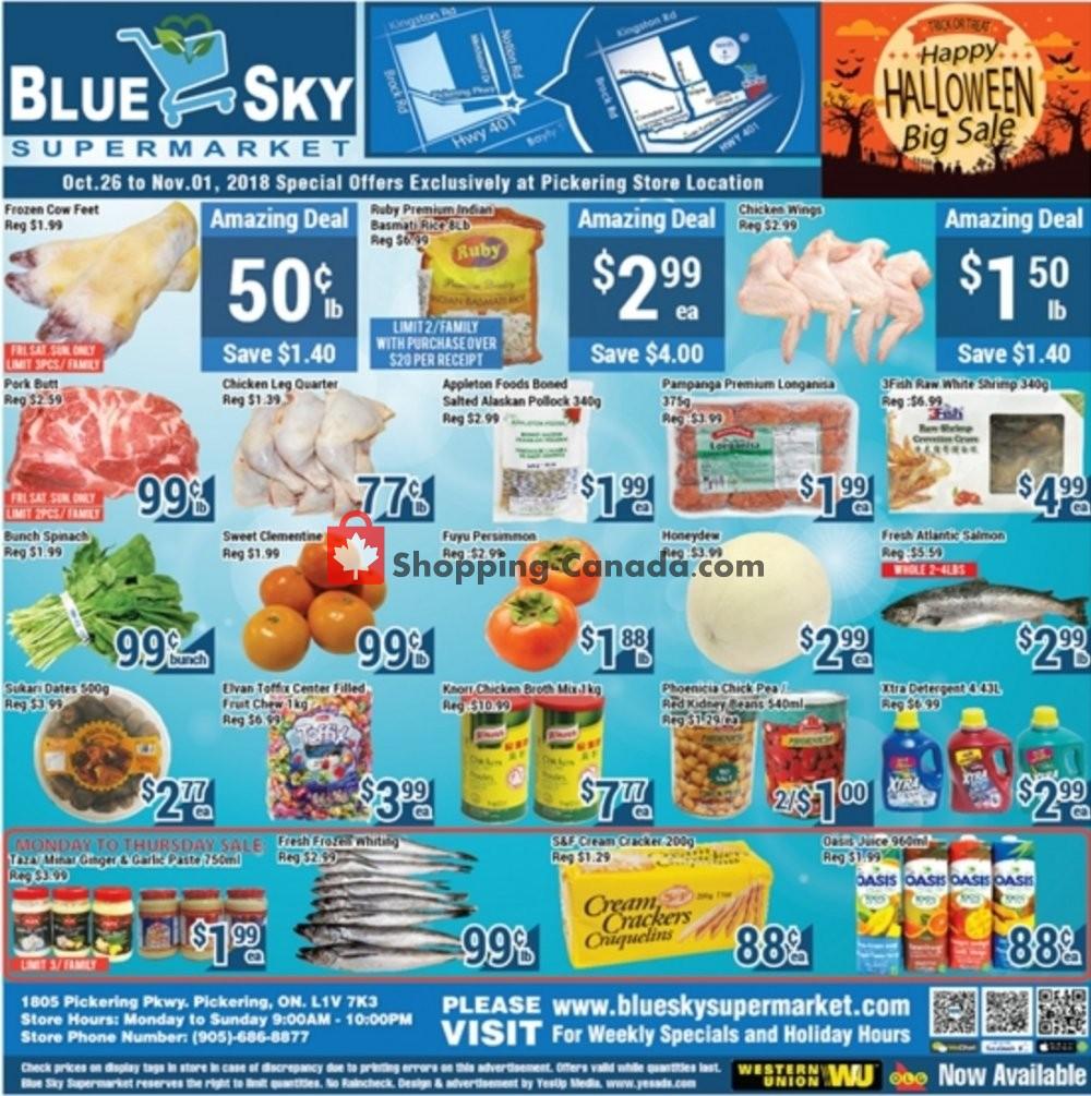Flyer Blue Sky Supermarket Canada - from Friday October 26, 2018 to Thursday November 1, 2018