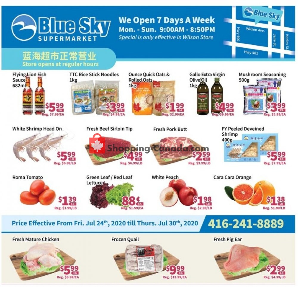 Flyer Blue Sky Supermarket Canada - from Friday July 24, 2020 to Thursday July 30, 2020