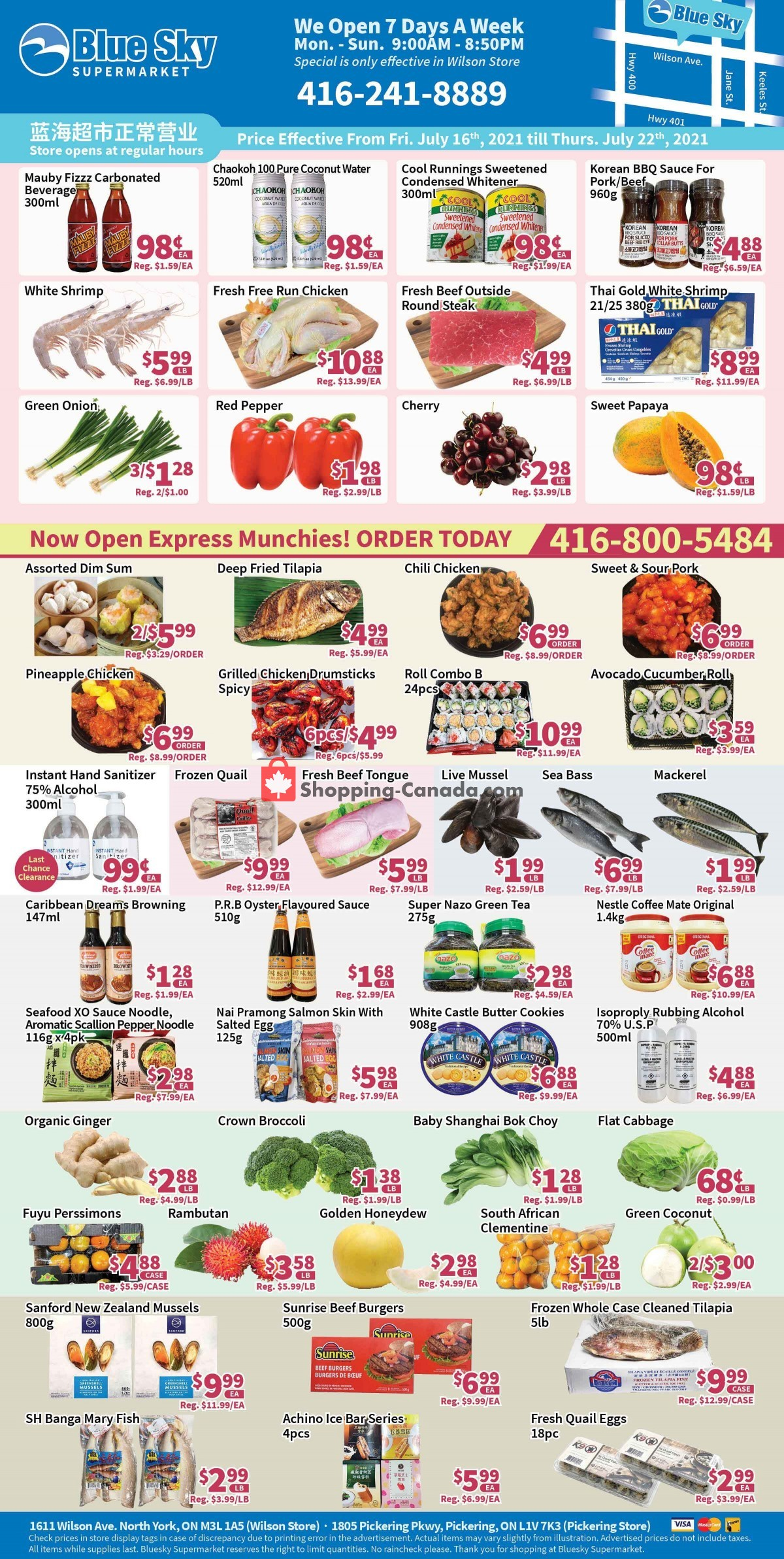 Flyer Blue Sky Supermarket Canada - from Friday July 16, 2021 to Thursday July 22, 2021