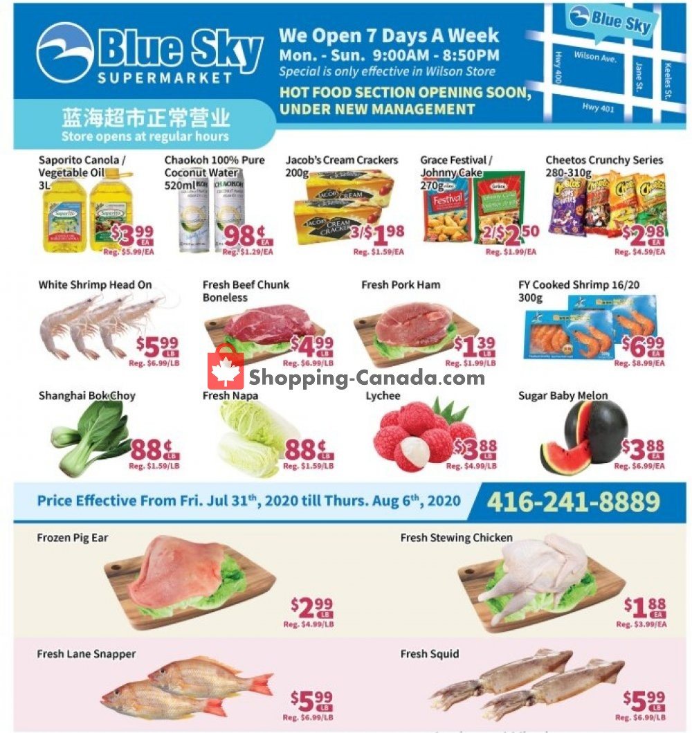 Flyer Blue Sky Supermarket Canada - from Friday July 31, 2020 to Thursday August 6, 2020