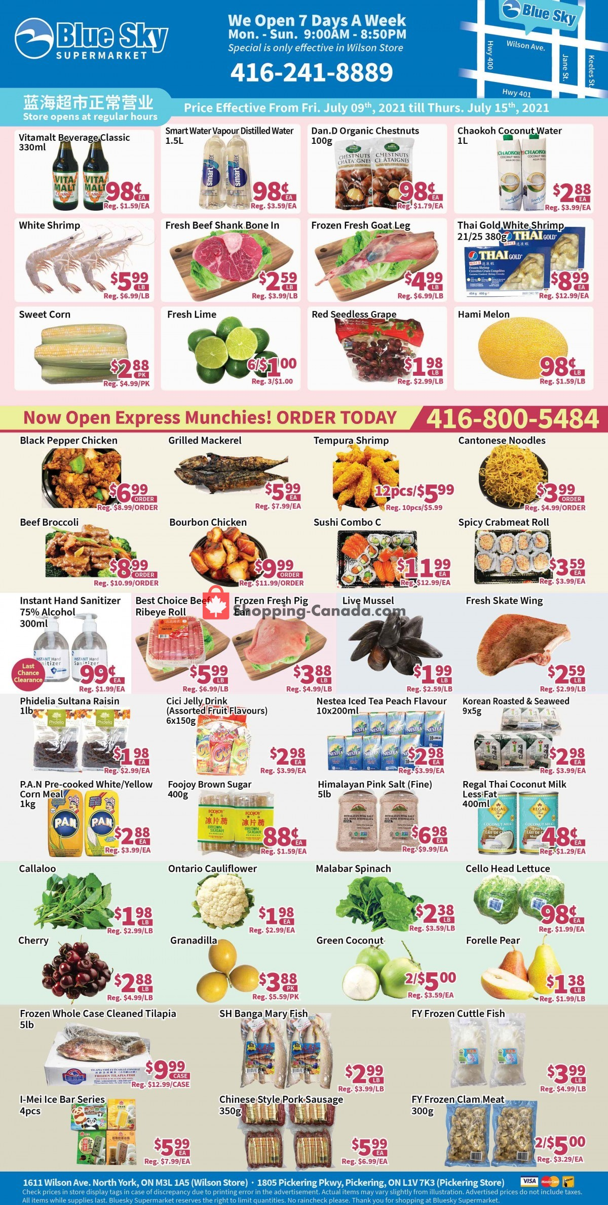 Flyer Blue Sky Supermarket Canada - from Friday July 9, 2021 to Thursday July 15, 2021