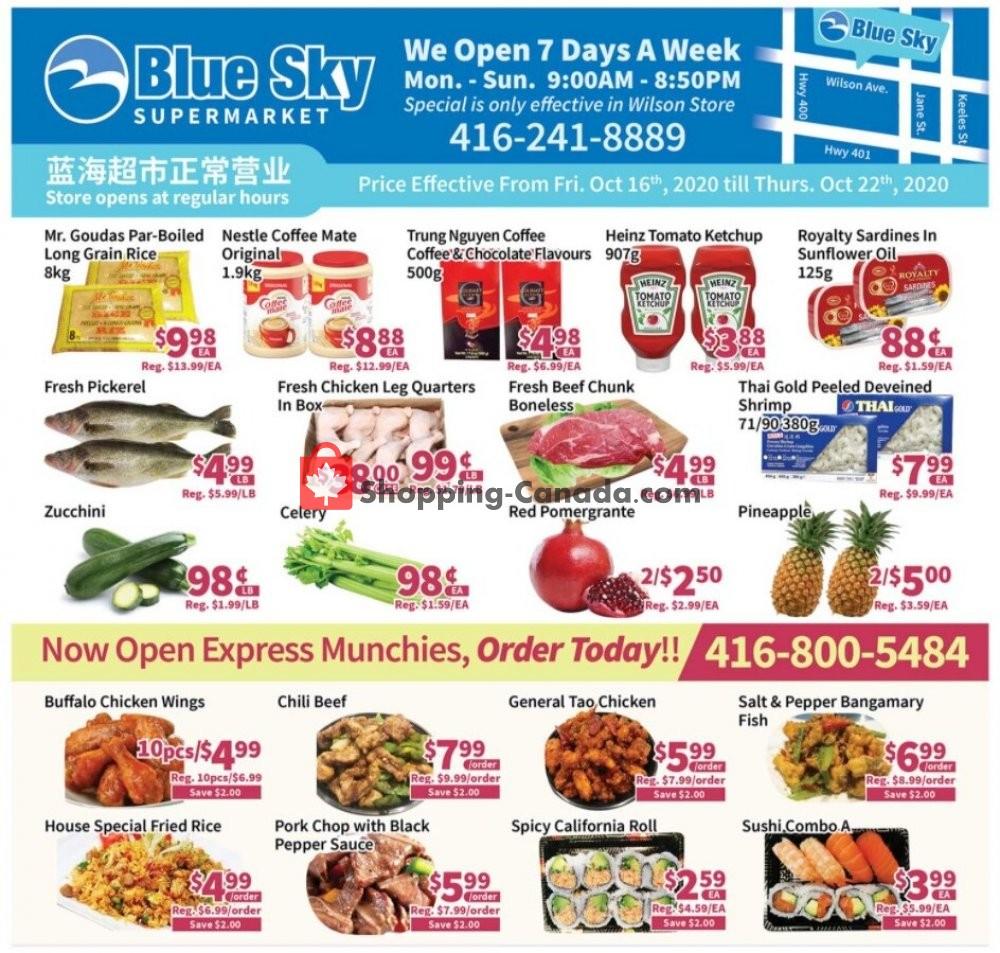 Flyer Blue Sky Supermarket Canada - from Friday October 16, 2020 to Thursday October 22, 2020