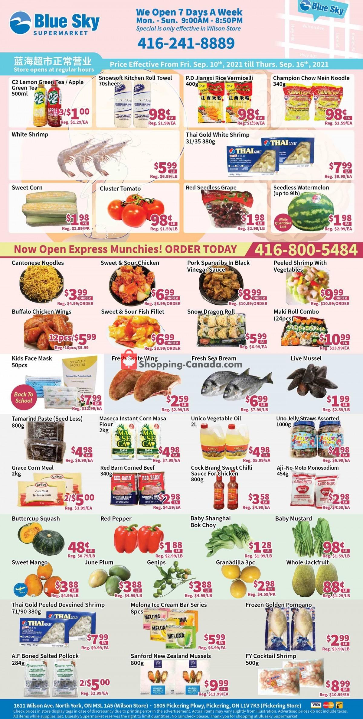 Flyer Blue Sky Supermarket Canada - from Friday September 10, 2021 to Thursday September 16, 2021