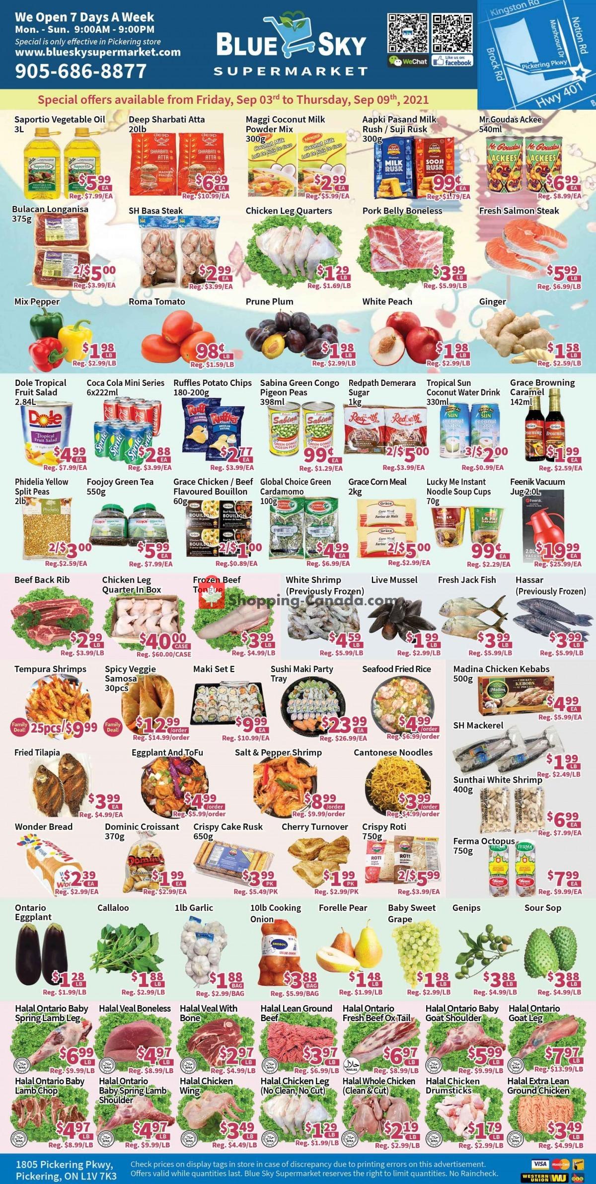 Flyer Blue Sky Supermarket Canada - from Friday September 3, 2021 to Thursday September 9, 2021