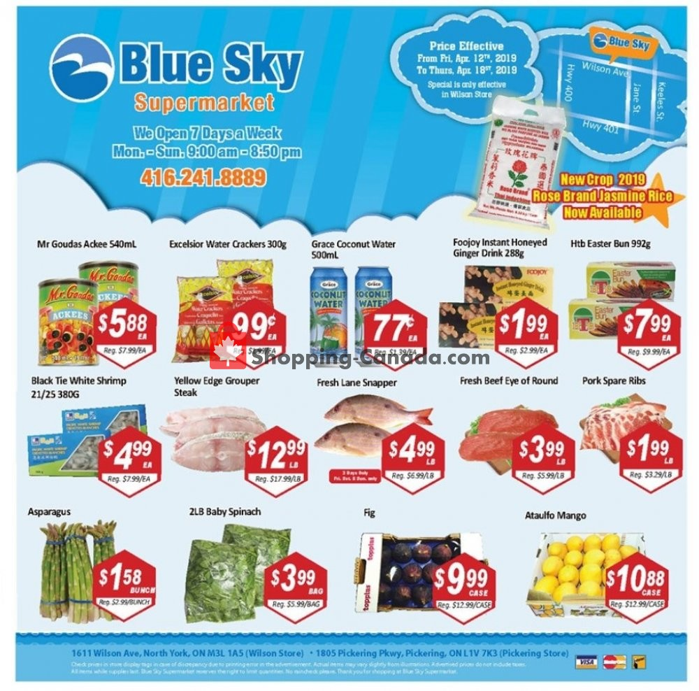 Flyer Blue Sky Supermarket Canada - from Friday April 12, 2019 to Thursday April 18, 2019