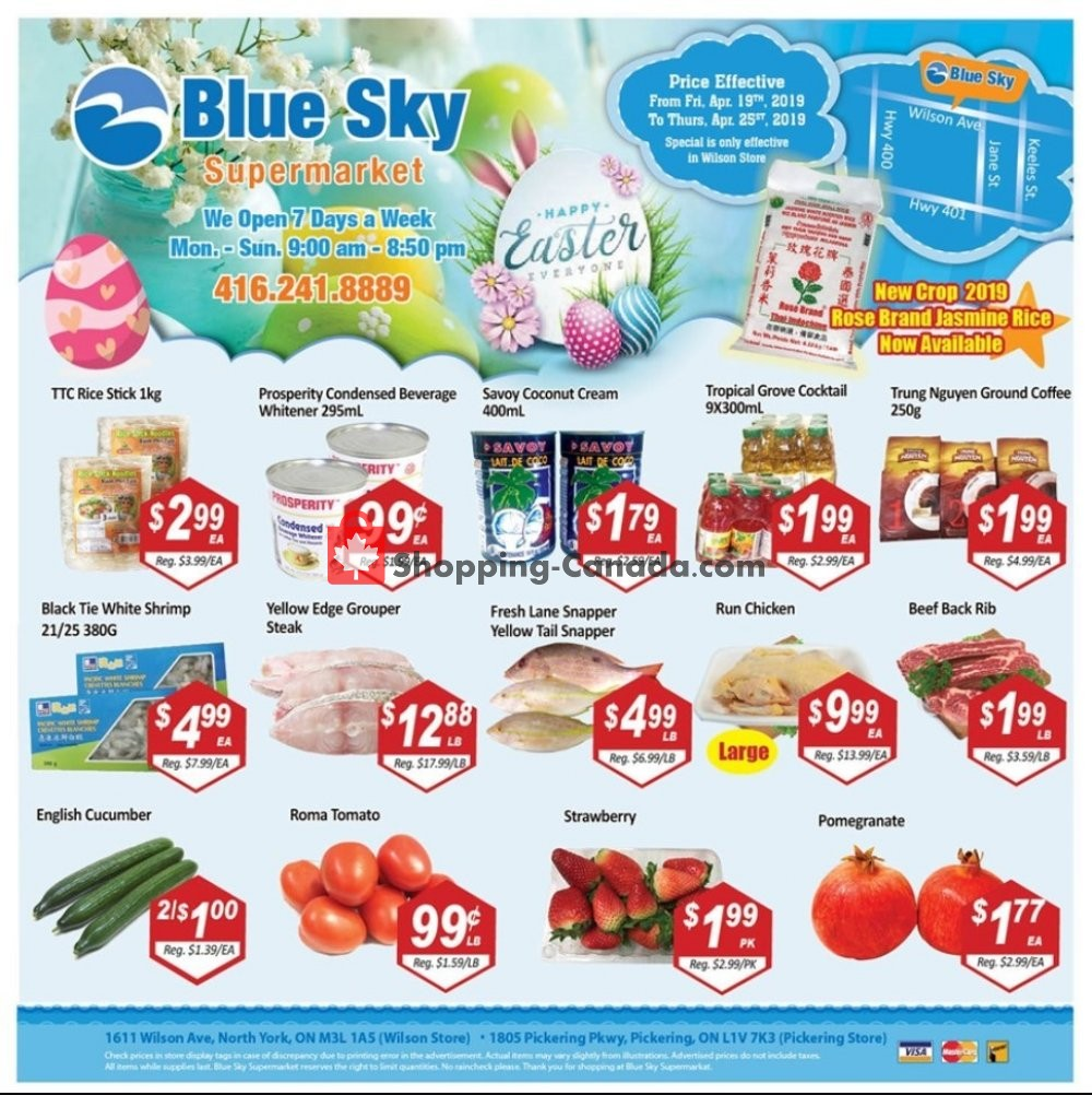 Flyer Blue Sky Supermarket Canada - from Friday April 19, 2019 to Thursday April 25, 2019