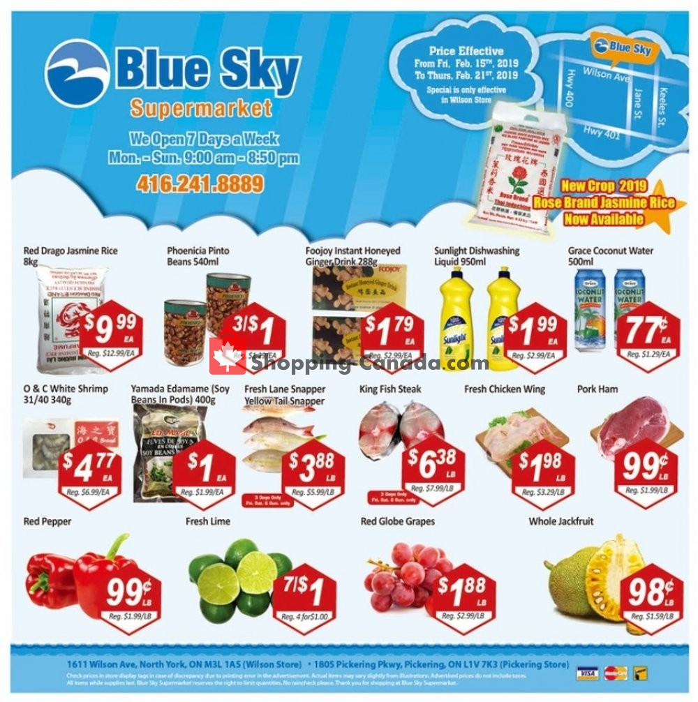 Flyer Blue Sky Supermarket Canada - from Friday February 15, 2019 to Thursday February 21, 2019