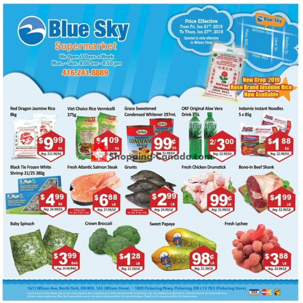 Flyer Blue Sky Supermarket Canada - from Friday June 21, 2019 to Thursday June 27, 2019